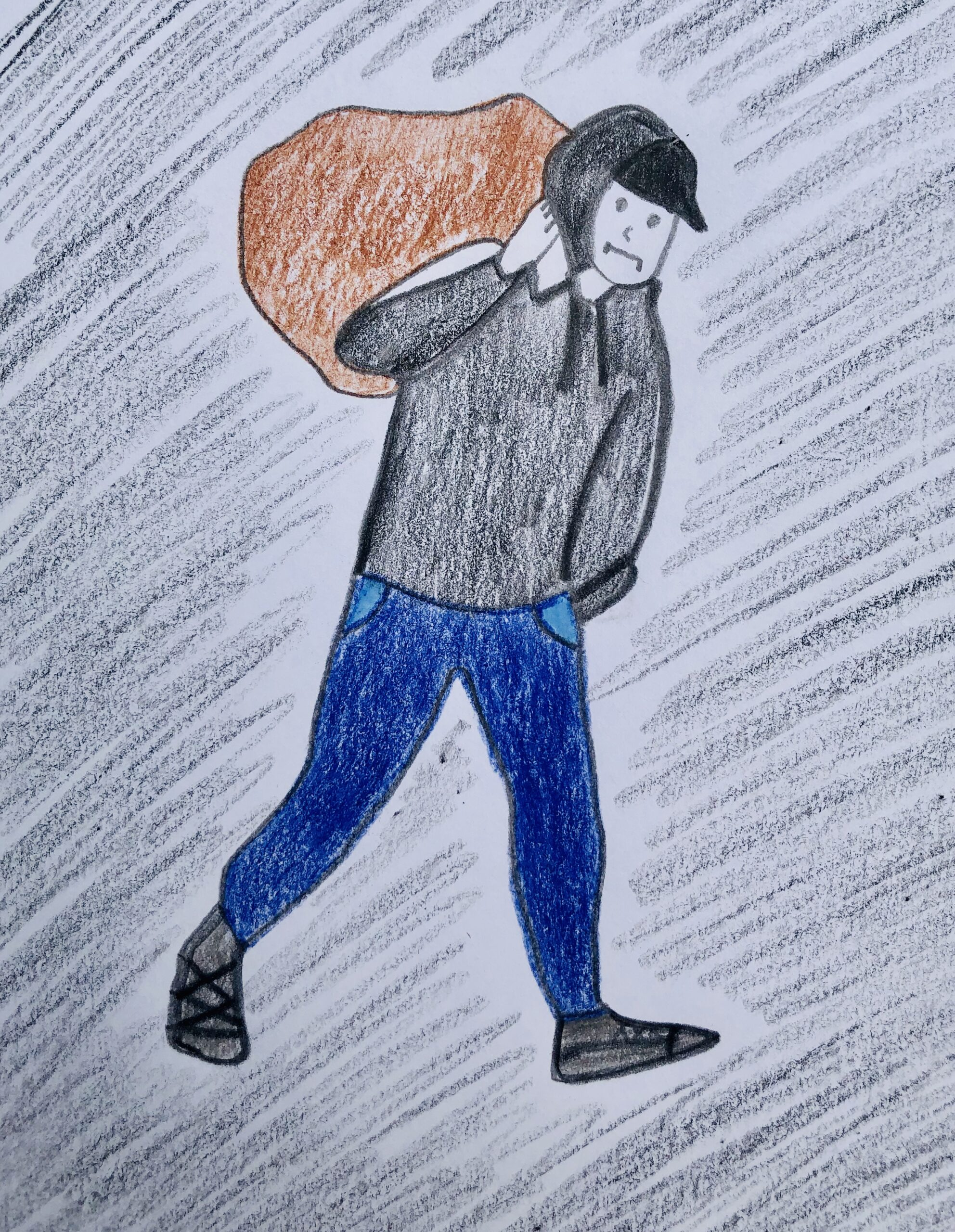 Colored pencil drawing of a boy, blue pants and black sweatshirt, carrying a brown sack for the mystery story, The Case of the Missing chips.