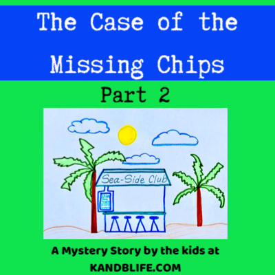Lime green and blue cover for the mystery story, The Case of the Missing Chips. Drawing of the Sea-Side Club on the front.