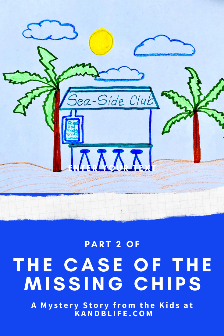 Blue background with Sea-Side Club picture for the Mystery Story, The Case of the Missing chips