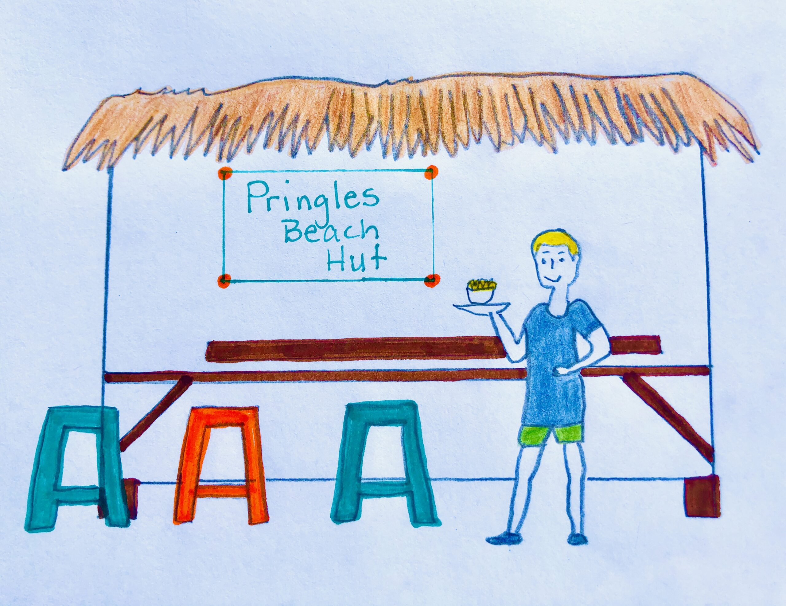 Drawing of Pringles Beach Hut for the mystery story, The Case of the Missing Chips.