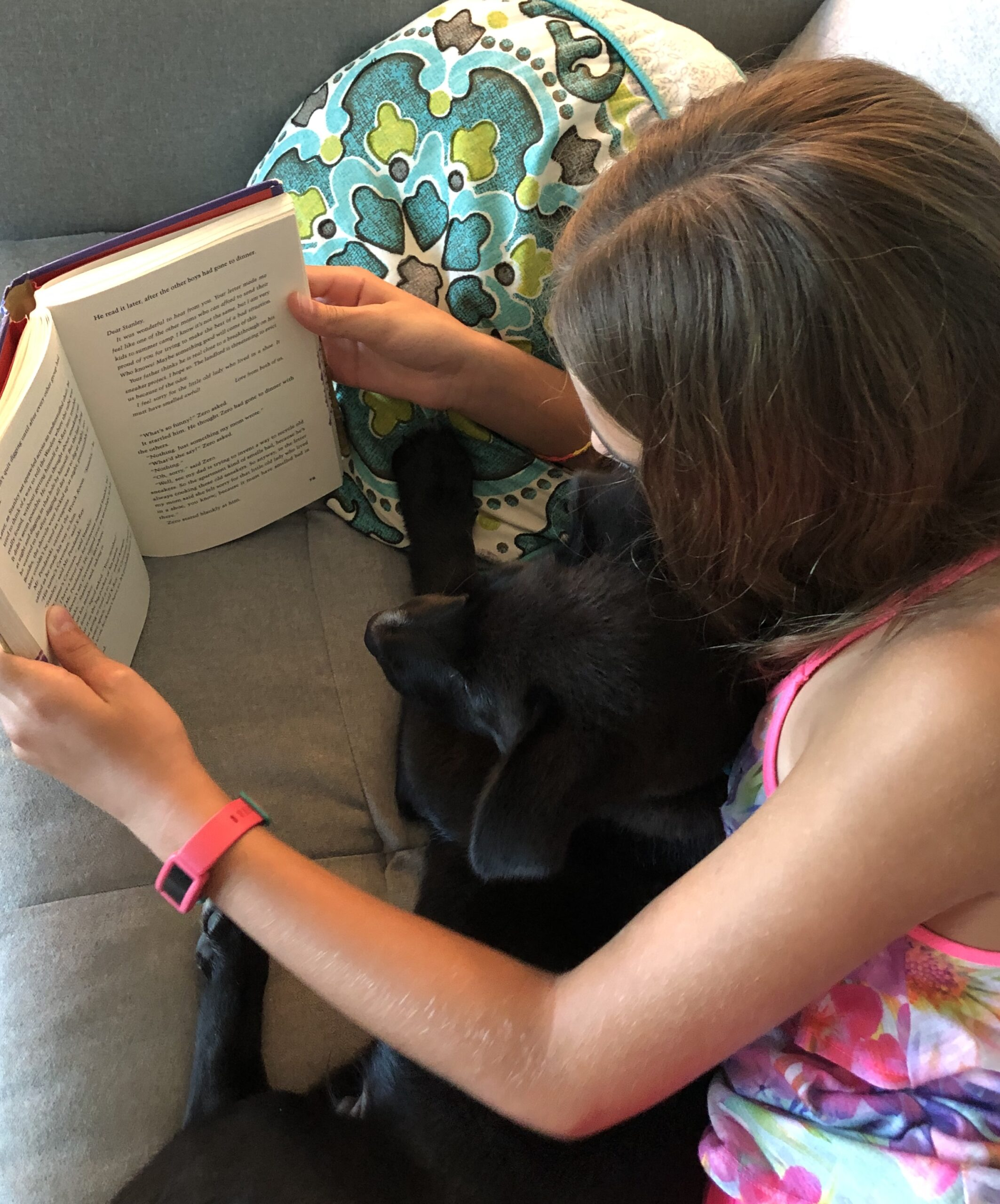 Girl reading Holes with her dog. for the book review on it.