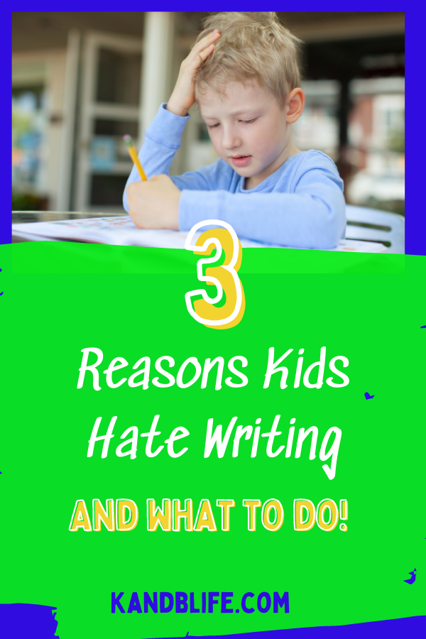 A frustrated boy writing for the article, 3 Reasons Kids Hate Writing.