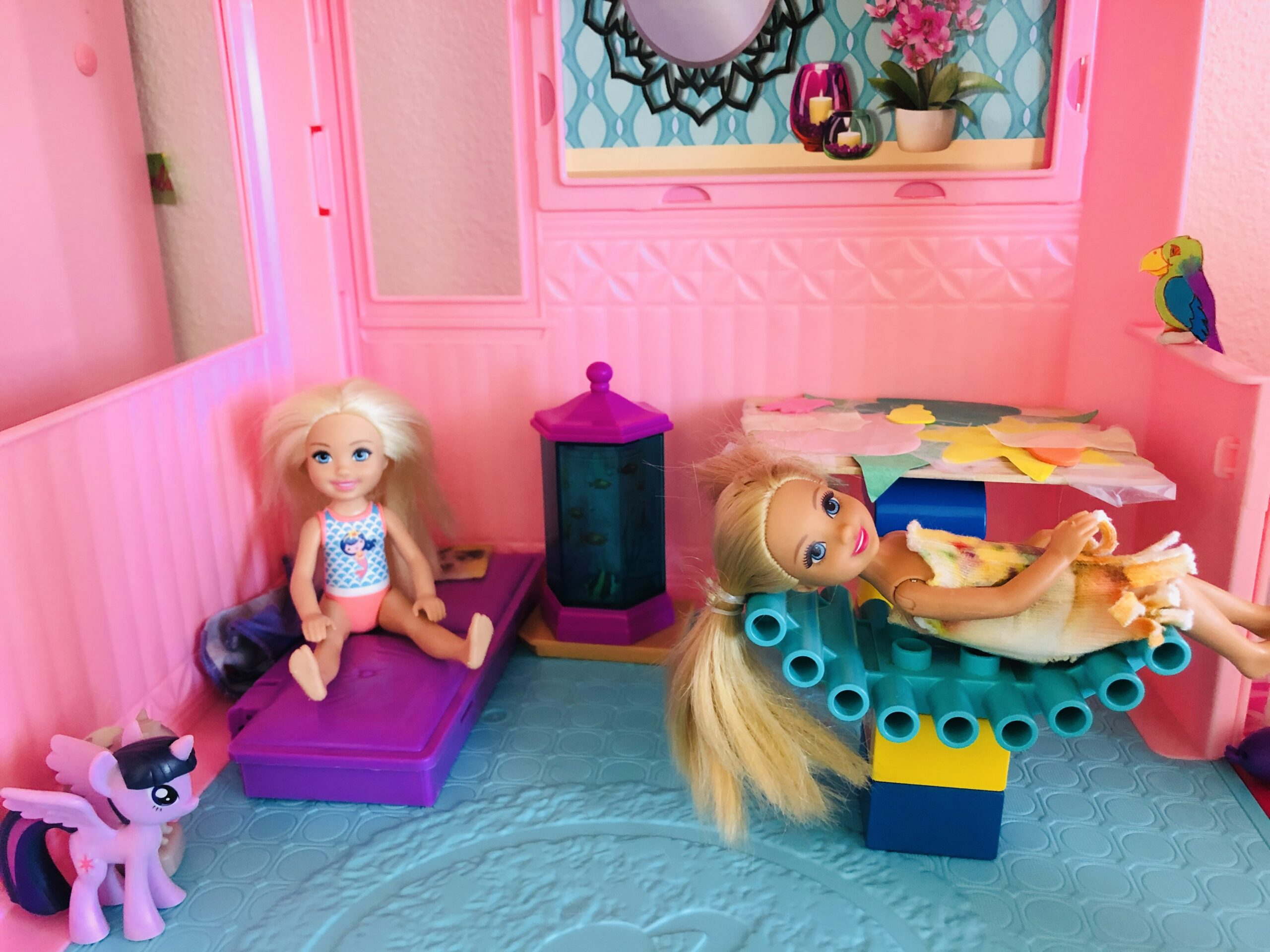 2 Chelsea Dolls, Barbies, in the Barbie Dreamhouse.