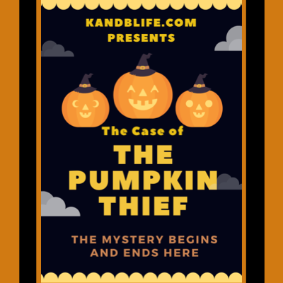 The Case of the Pumpkin Thief cover. Black background with orange letters.