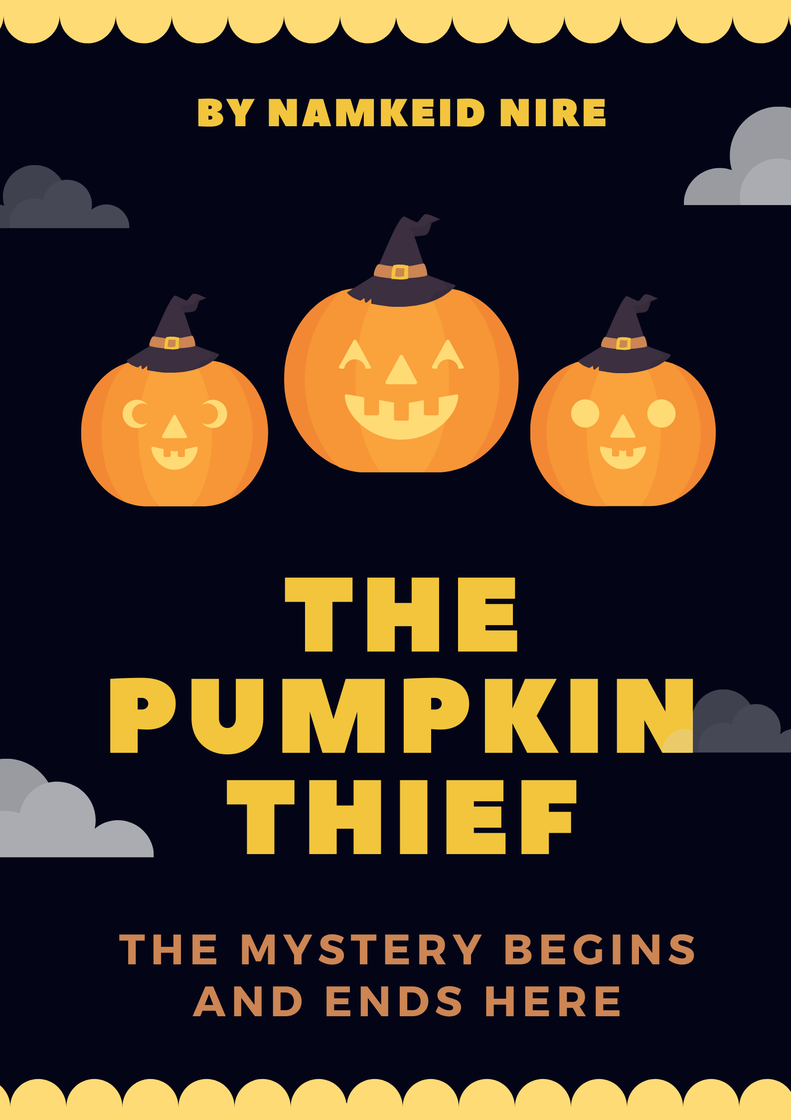 The cover for the detective story for the The Case of the Pumpkin thief. Black background with bright orange pumpkins.