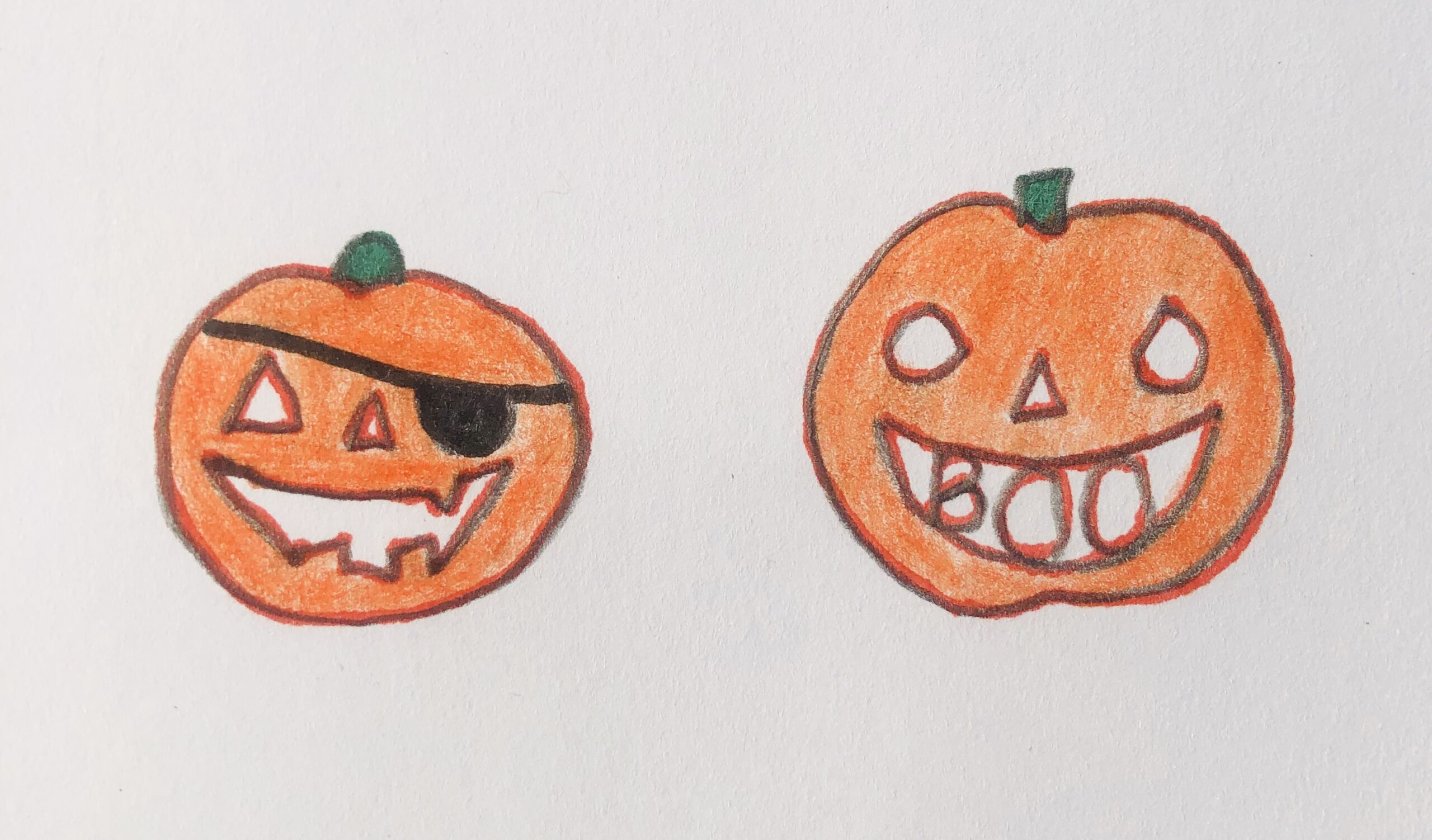 Drawing of a couple of orange pumpkins for the detective story, The Pumpkin Thief.