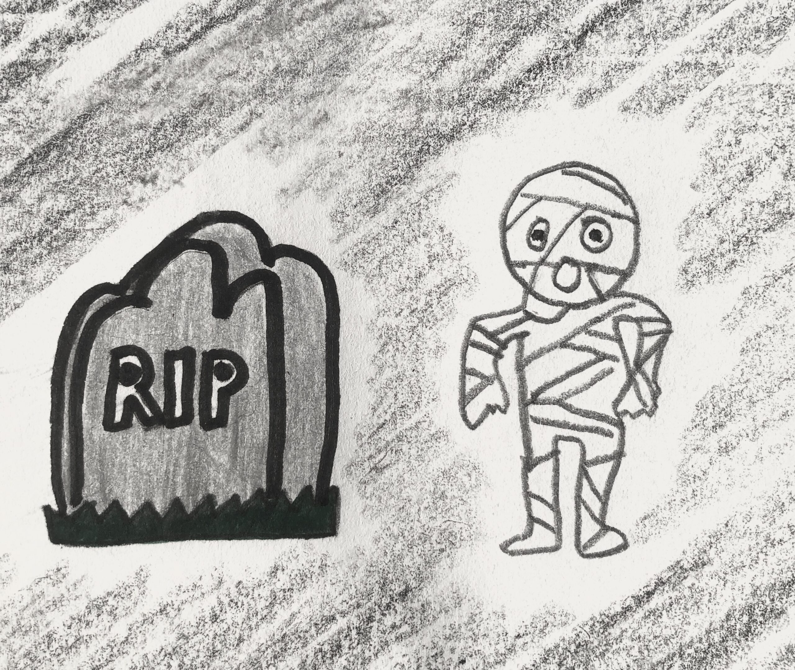Detective story drawings of halloween decorations, a tombstone and a mummy.