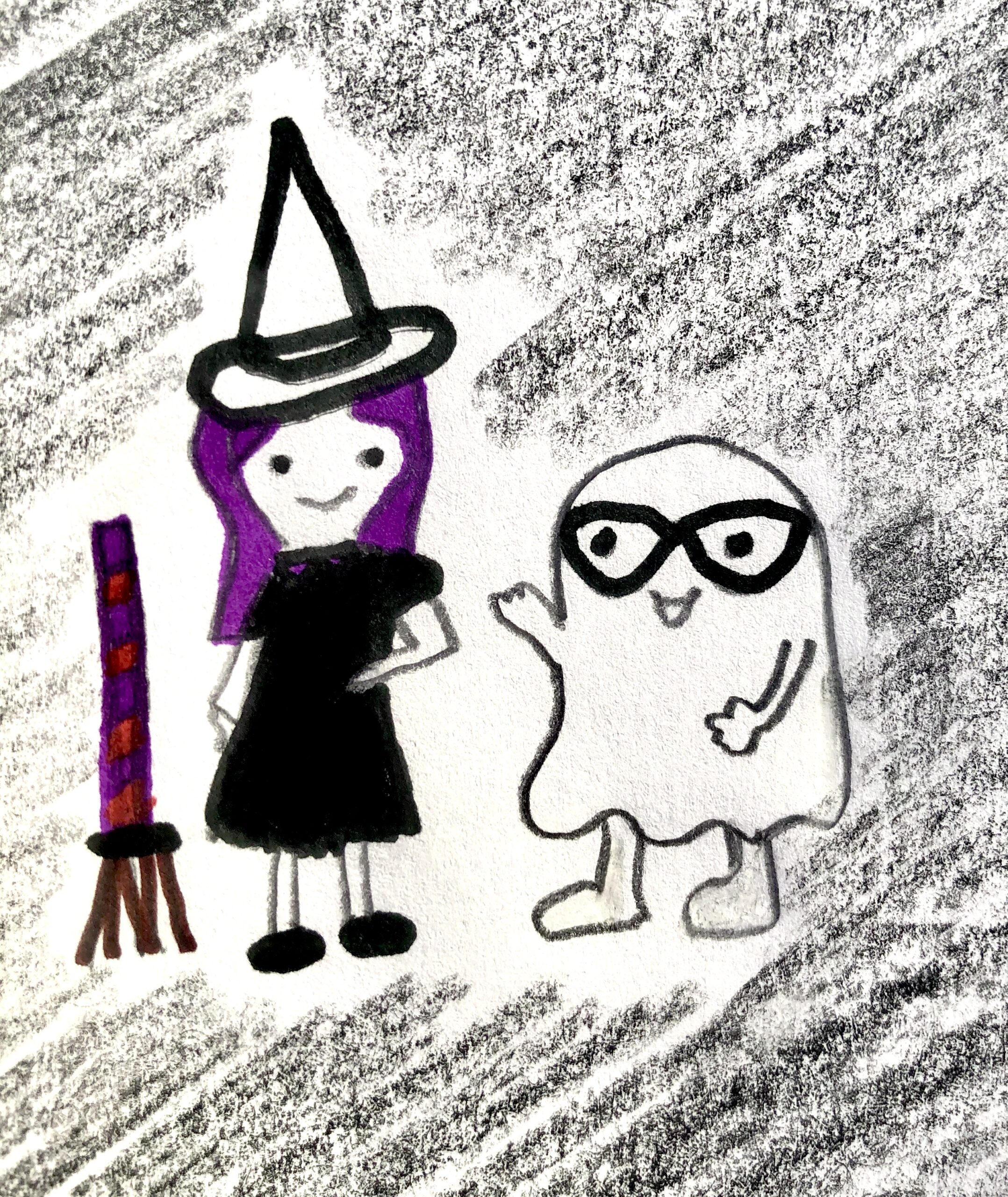 Drawing of a witch with purple hair and a black dress and a ghost with glasses.