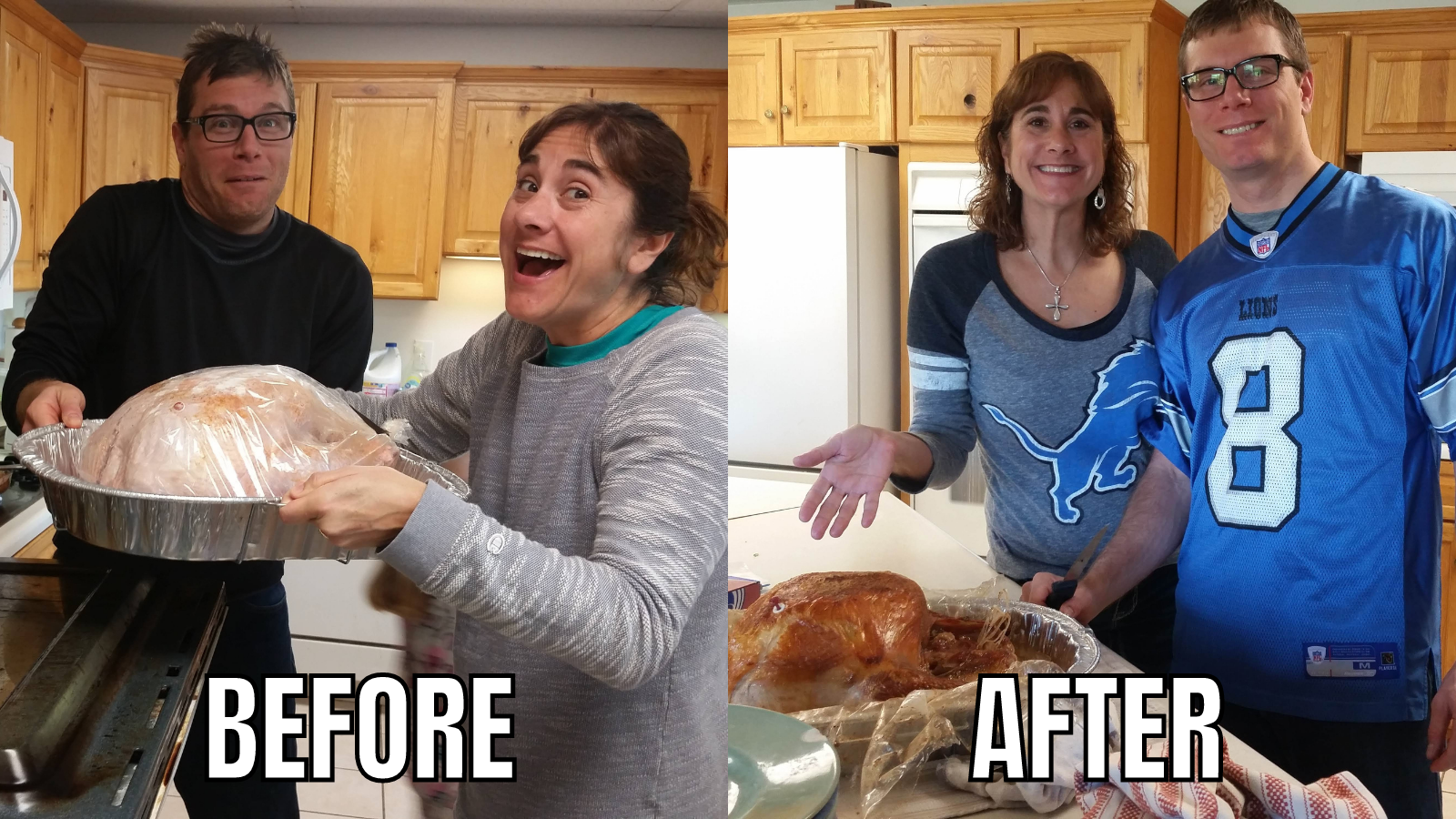 Thanksgiving Turkey before and after.