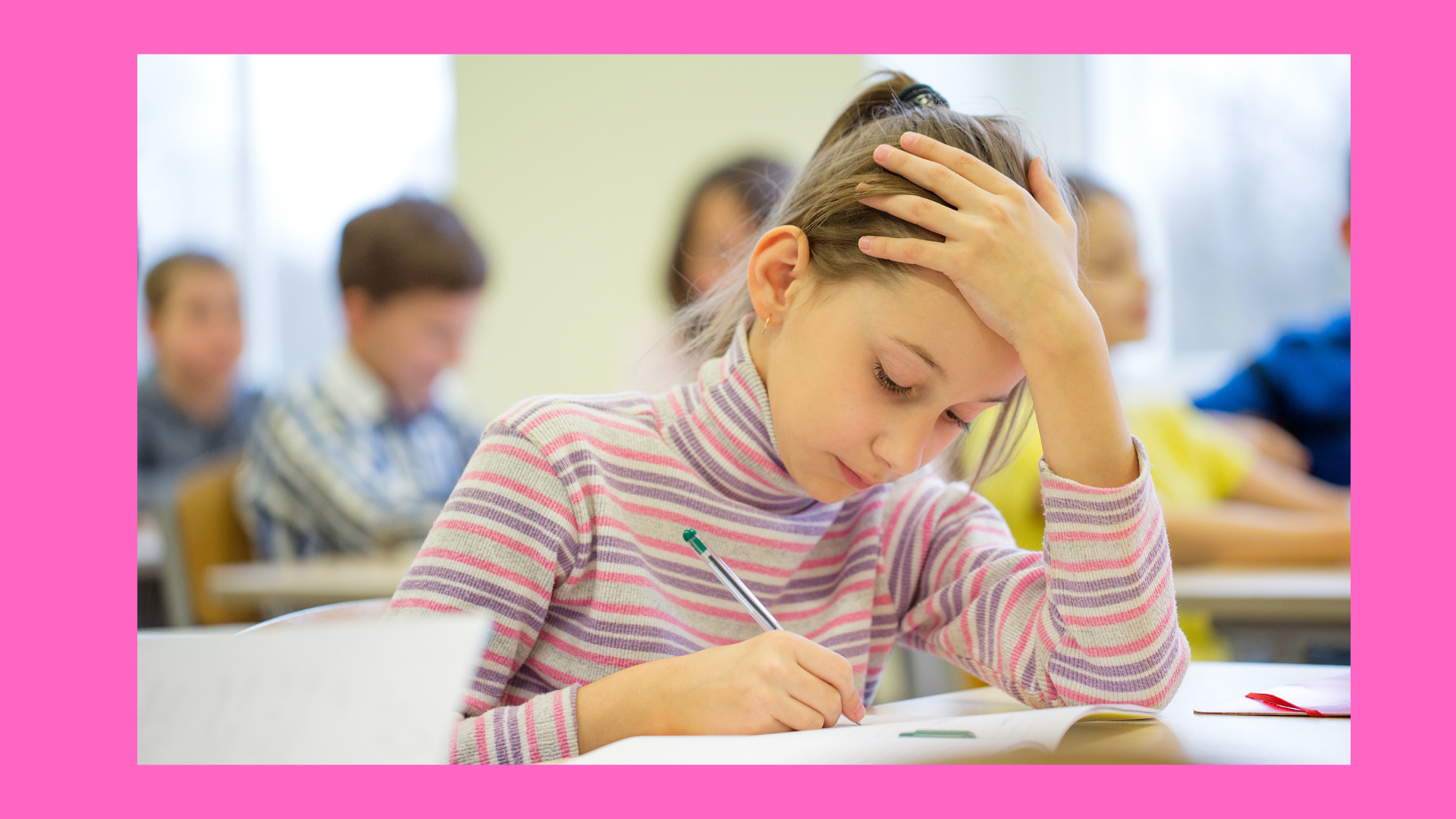 Unhappy girl while writing. Picture depicted for the article, 3 Reasons Kids hate Writing.