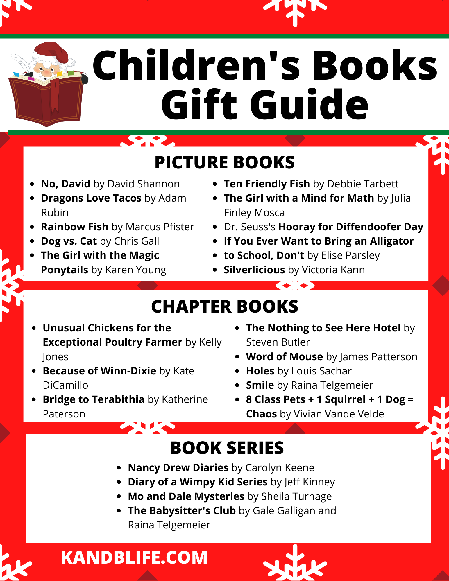 A red and white Children's Books Gift Guide.