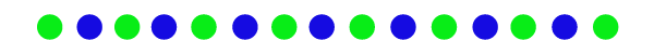 Blue and lime green dots