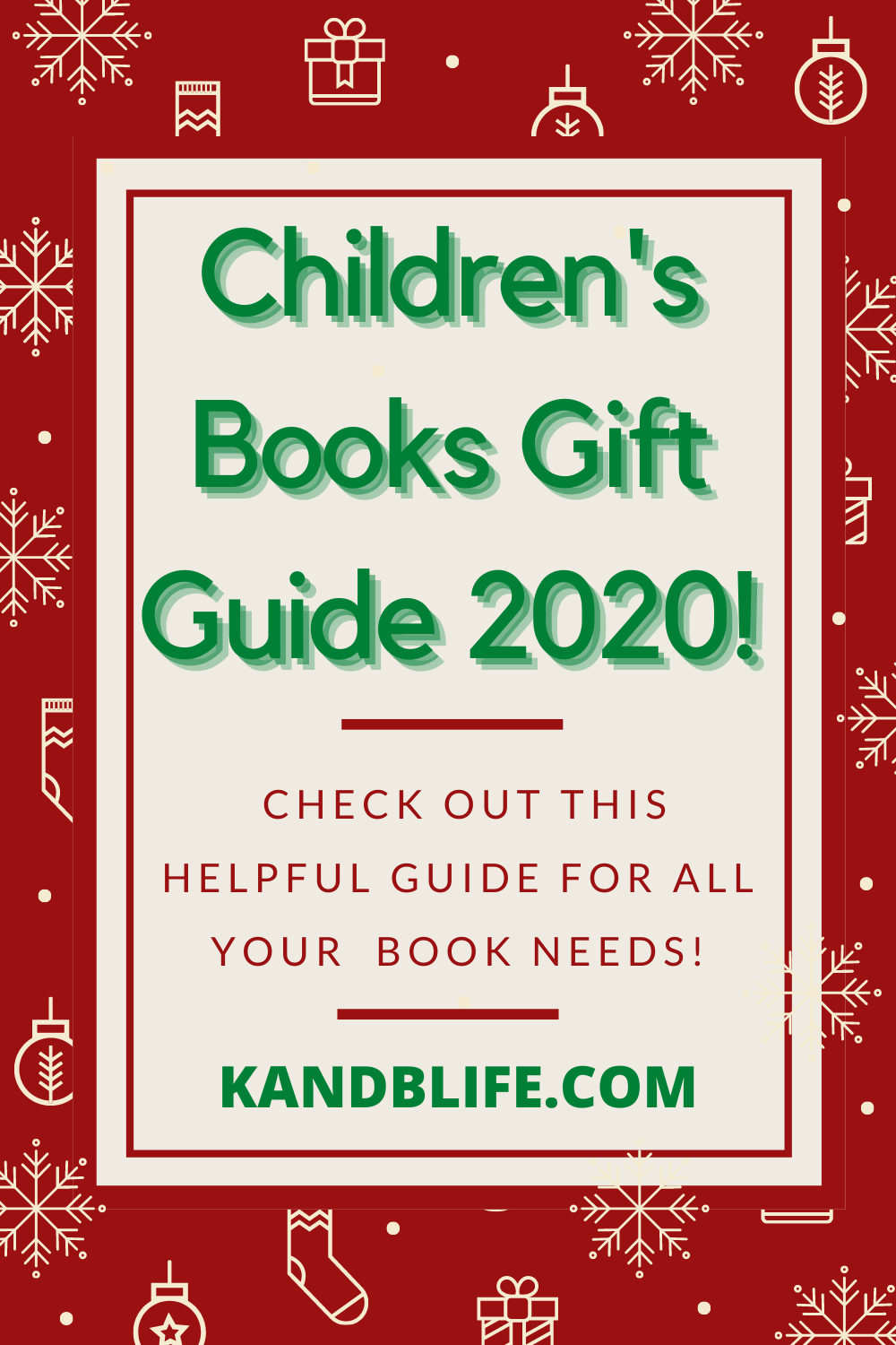 Children's Books Gift Guide 2020 Cover. Red with white sleds and snowflakes.