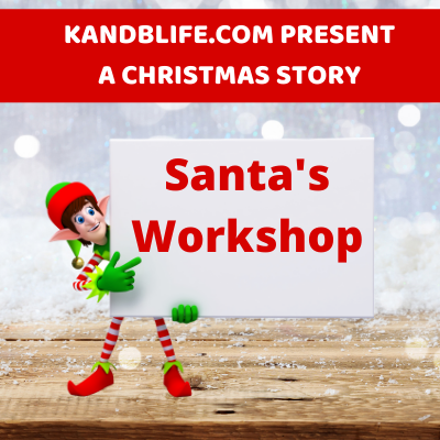 Featured Image for a Christmas Story. And elf holding a sign that says Santa's Workshop.