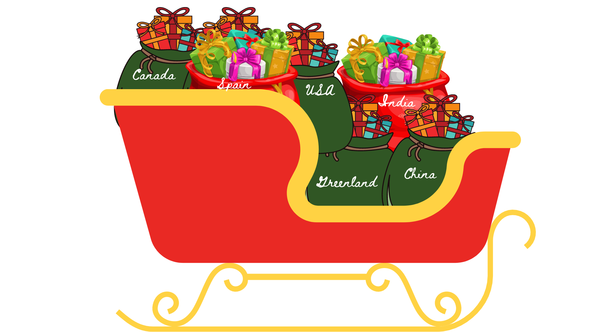 Santa's Sleigh filled with presents.