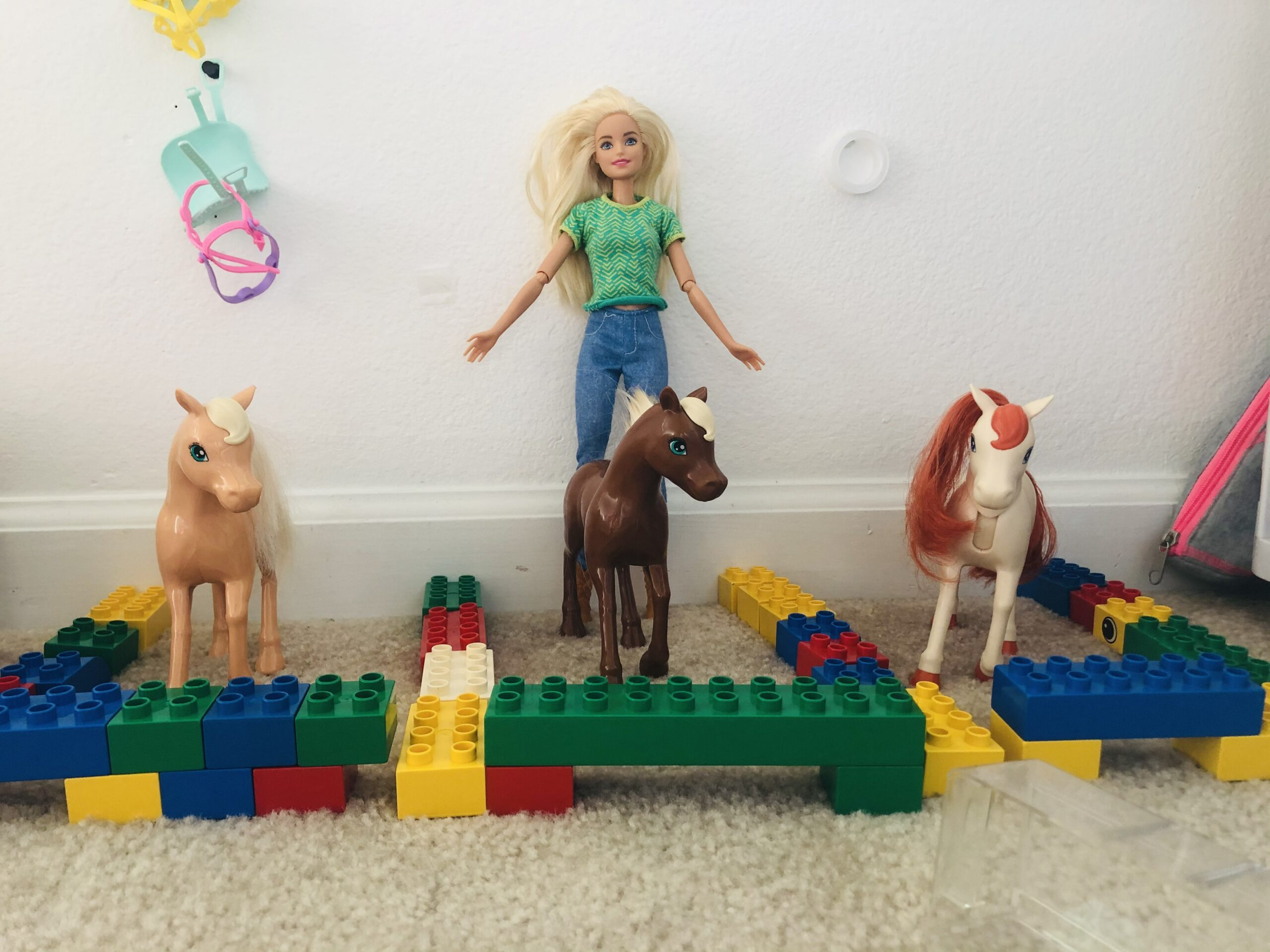 A Barbie Doll and some horses.