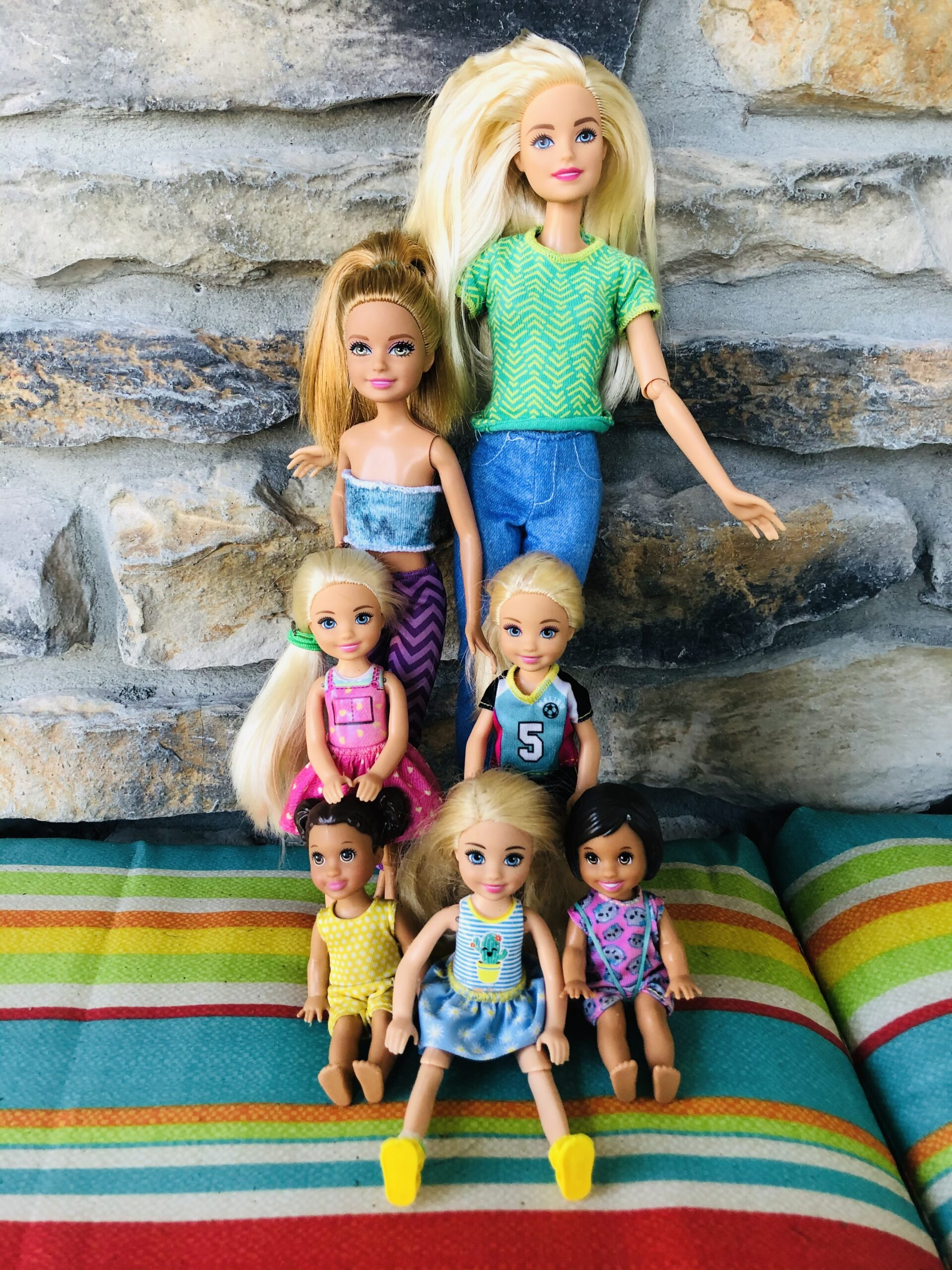 A collection of Barbie Dolls called the Volkswaggon Family.