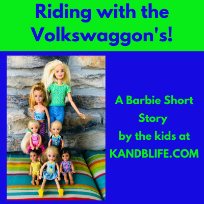 Lime green and blue cover for the Barbie Short Story, Riding with the Volkswaggon's.