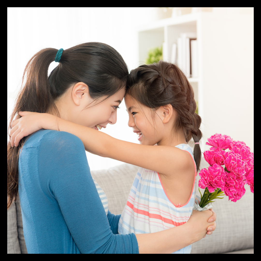 Grateful kid hugging their mom for a Gratitude Journal called My 5 Little Things