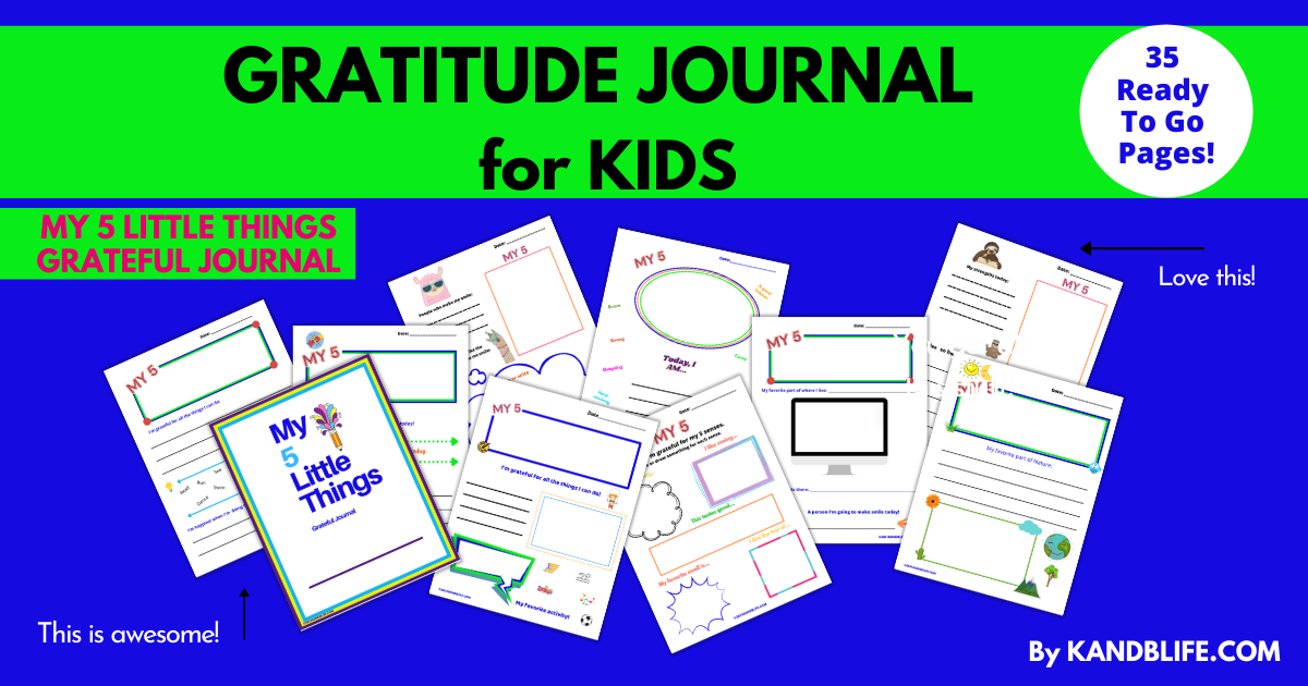 Gratitude Journal, My 5 Little Things by K and B Life: https://kandblife.com