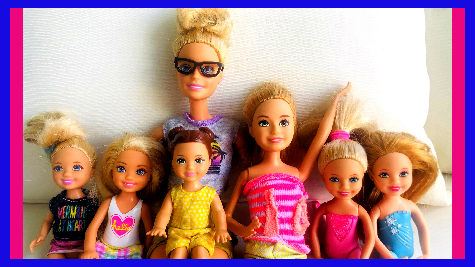 A bunch of Barbies posing for the Barbie Stories for Kids, The Crazy Kramer's