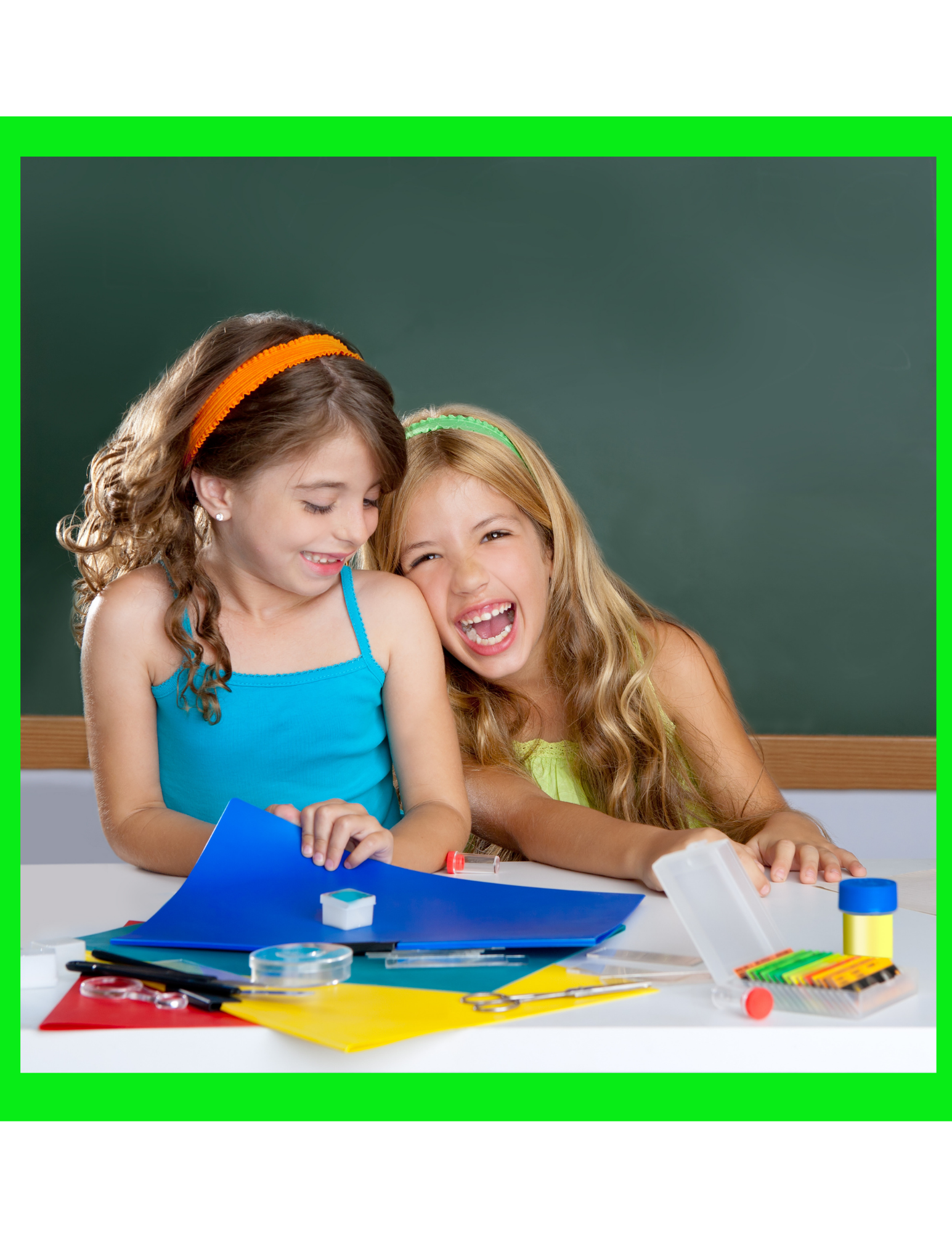 2 girls laughing at school for the product, Mis 5 Cositas, A Spanish Gratitude Journal.