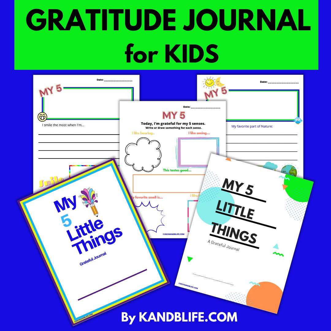 Gratitude Journal for Kids, My 5 Little Things.