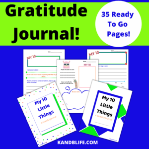 Lime green and blue with Gratitude Journal written on it.