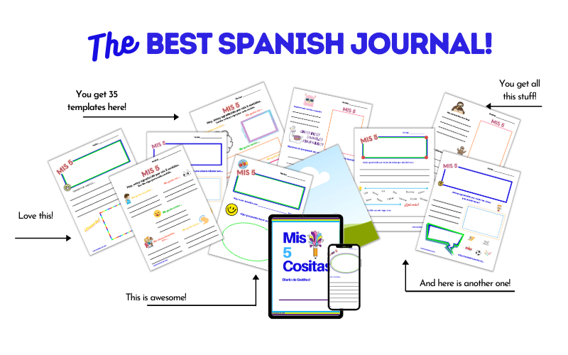 Lots of examples for the Spanish Gratitude Journal for Kids