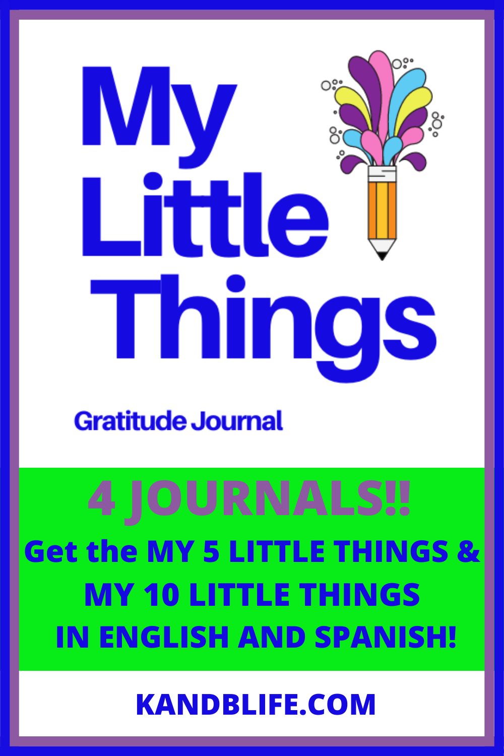 Lime green and blue cover for the the My Little things Gratitude Journal called My Little Things