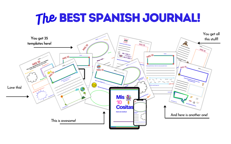 A mockup of lots of different pages from the Spanish Gratitude Journal, Mis 10 Cositas.