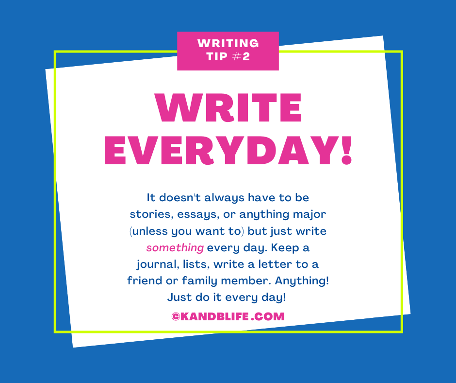 A blue background with writing tips for kids on it.