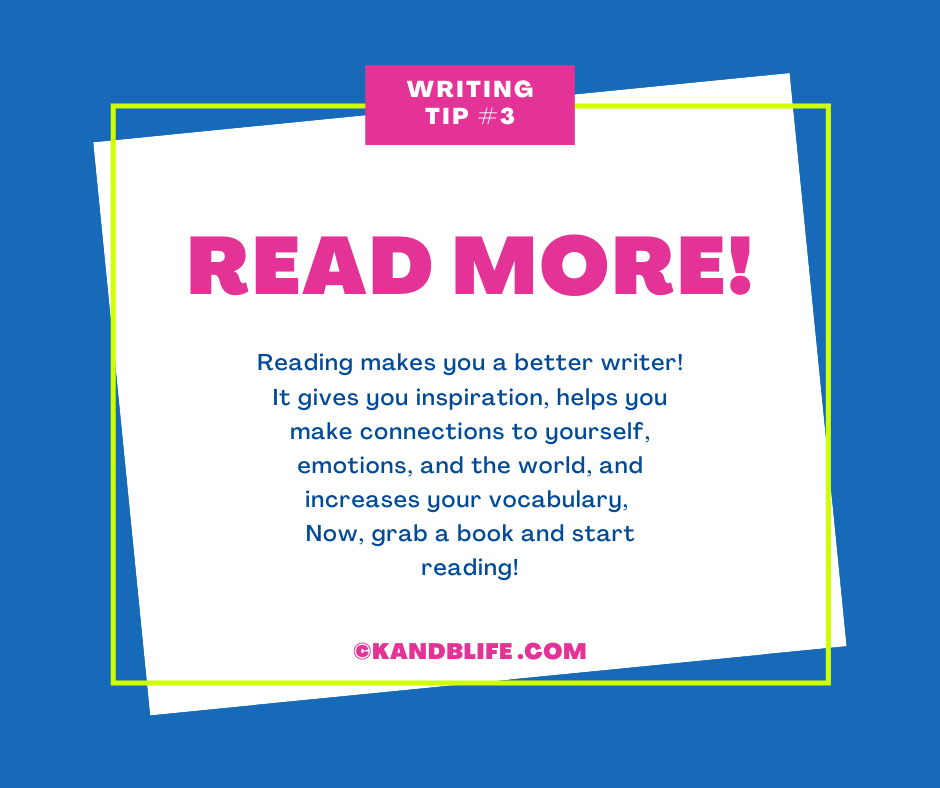 A blue background with a writing tip for kids on it.