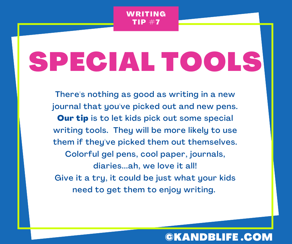 A blue background with a white sticky note on it with a writing tip for kids on it.