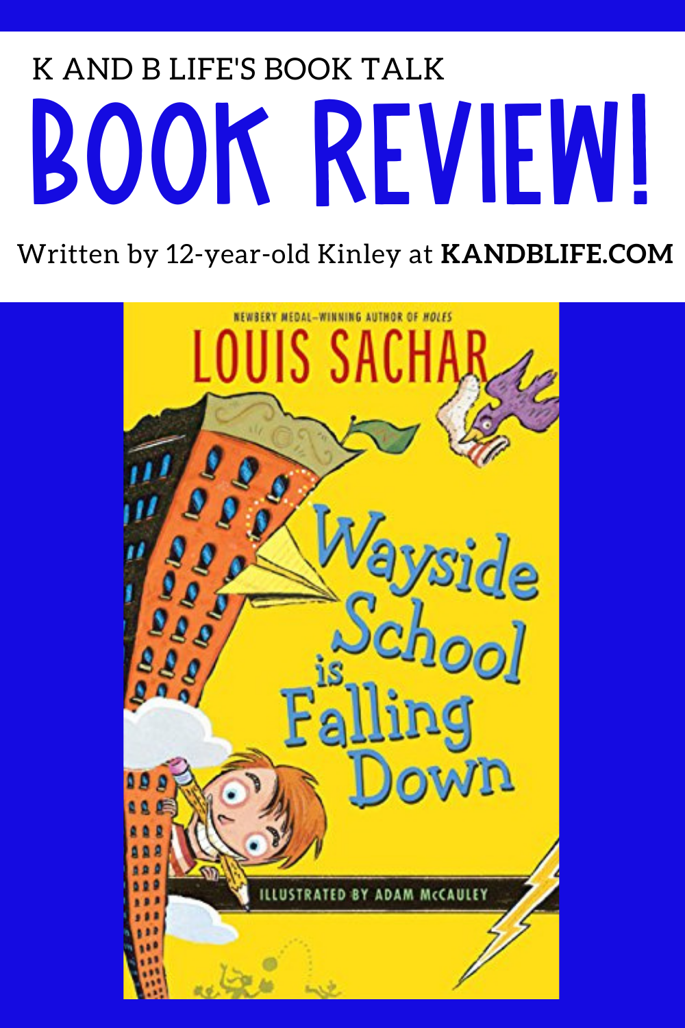 BOOK REVIEW COVER FOR WAYSIDE SCHOOL IS FALLING DOWN. It's blue with the book on it.
