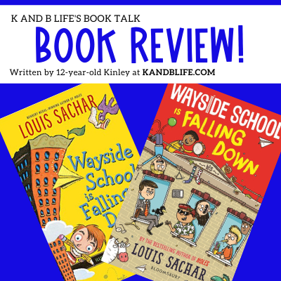Blue background cover with Book Review on it for Wayside School is Falling Down.