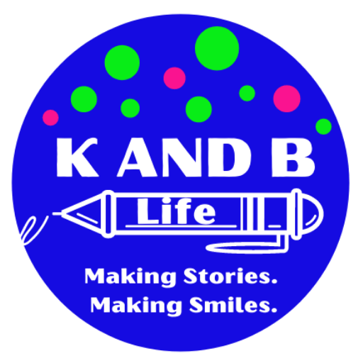 """K and B Life Blog LOGO. A blue Circle with white lettering saying, """"K and B Life. Making Stories. Making Smiles."""""""