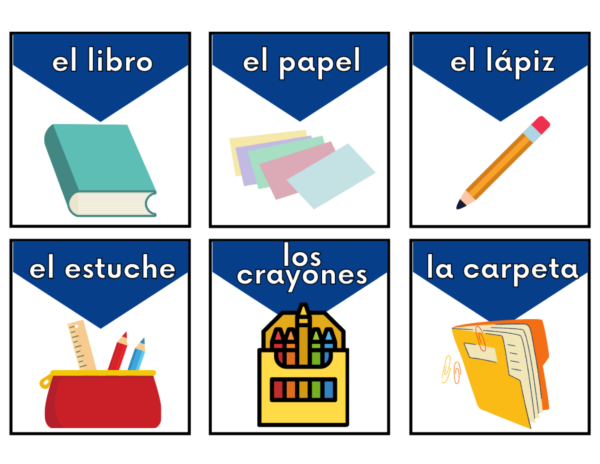Back to School Spanish Vocabulary Card pictures with words.