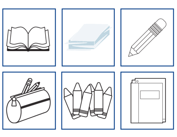 Black and white Back to School Spanish Vocabulary Card pictures without words.