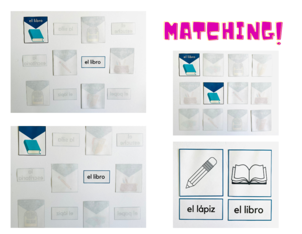 Matching examples for kids to play using the Back to School Spanish Vocabulary Cards by KANDBLIFE.COM