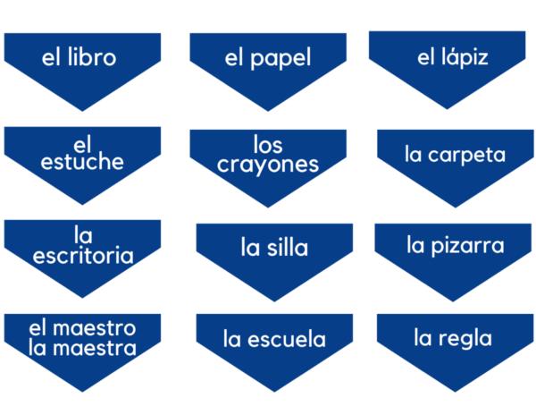 Back to School Spanish Vocabulary Word Cards by KANDBLIFE.COM