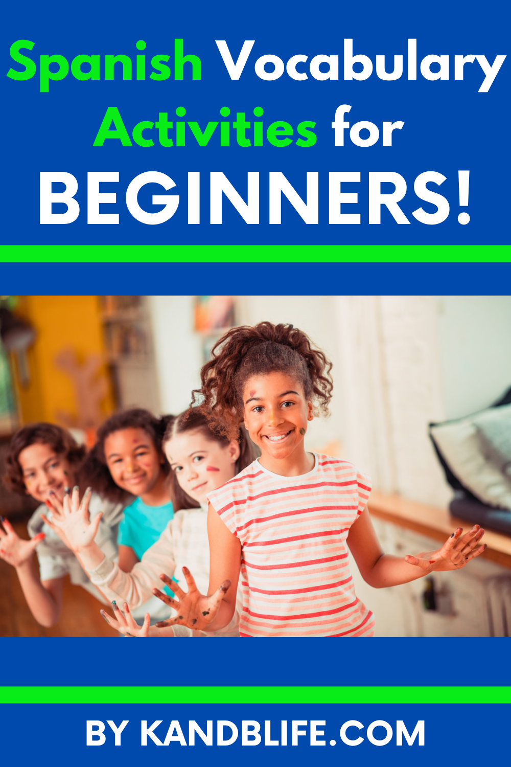Kids playing for the article, Spanish Vocabulary Activities for Beginners by K and B Life at https://kandblife.com