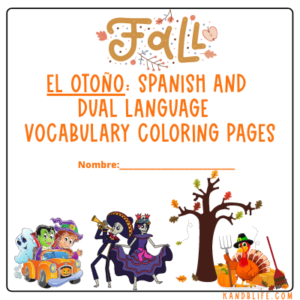 Cover with pictures of leaves, a tree, Halloween characters, a turkey, a pumpkin and Día de Los Muertos people on it for the product El Otoño: Spanish and Dual Language Vocabulary Coloring Pages