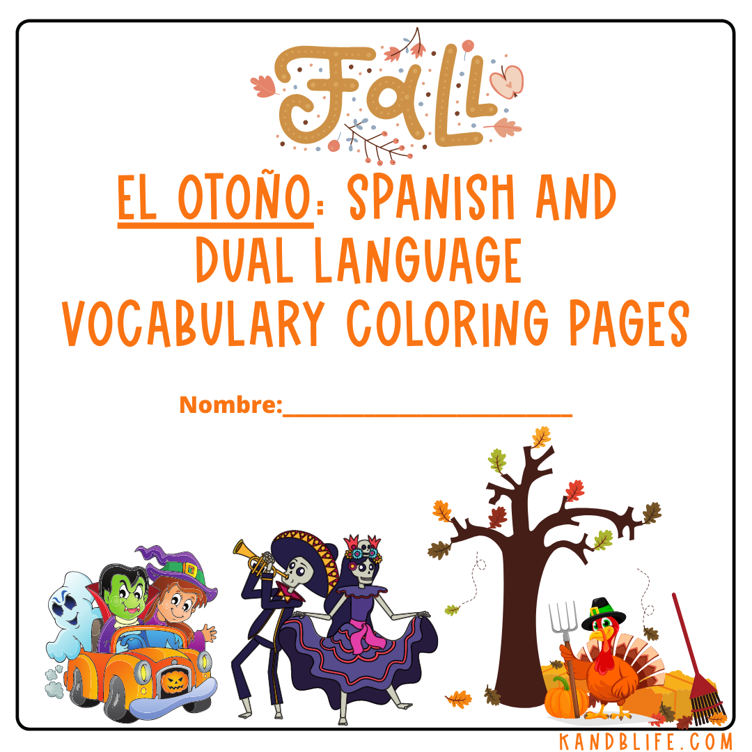 El Otoño Spanish and Dual Language Vocabulary Coloring Pages