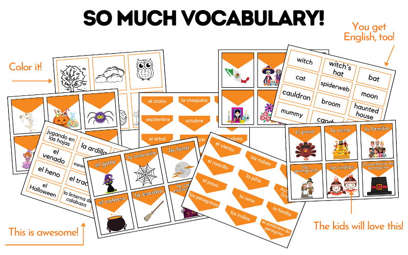 Sample pages from the product El Otoño: Spanish Vocabulary Cards for the Whole Season