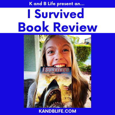 Cover photo with a girl biting a book for the I Survived Book Review.