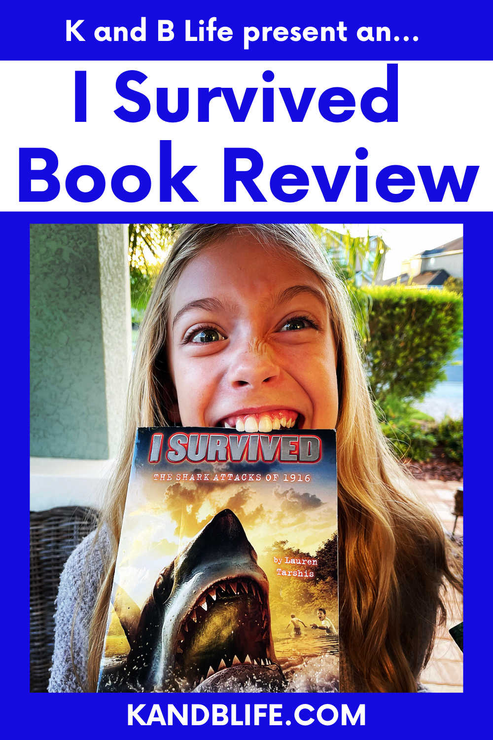 A picture of a girl biting the book, I Survived: The Shark Attacks of 1916